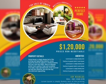 Real Estate advertising Template - Property Advertising Marketing Flyer - Photoshop template INSTANT DOWNLOAD