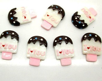"5 Pieces Vanilla Creamsicles Dipped Chocolate, ""I Heart You"" Cabochon - Kawaii Decoden Flatback Resin (TDK-C1184)"