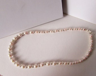 Faux Pink Pearl and Brass necklace