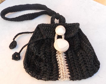 Purse Keychain,black and beige,mini Coin Purse,small pouch for money,Coin Purse,Business card holder,crochet mini bag,crochet purse, pouch