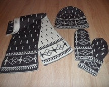 Winter Set for Women Reversible Hat Scarf Mittens Warm Merino wool Knit scarf DESIGNER WINTER CLOTHES  Knit hat Ski mittens Winter gloves