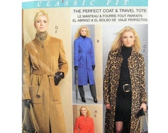 2008 McCall's M5767 Palmer Pletsch Classic Fit Perfect Coat and Travel Tote, New, OOP, Uncut Factory Folded Sewing Pattern Plus Size 16-24