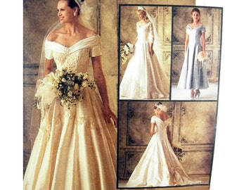 1994 McCall's 6951 Fitted, Lined and Underlined Bridal Gown, Wedding Dress, Bridesmaid Dress Sewing Pattern Size 12 or 14