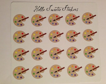 20 Large Art Palette Stickers