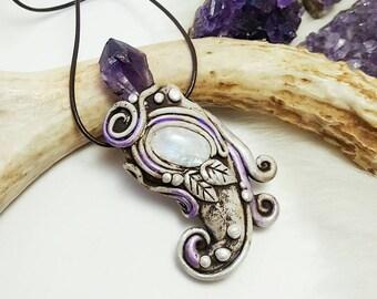 Amethyst Moonstone Necklace. Crystal Clay Pendants. Fairy Woodland Boho Jewelry.