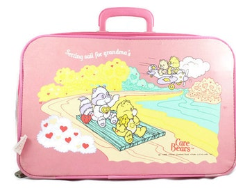 1986 Care Bears Pink Child's Suitcase Setting Sail for Grandma's Vintage