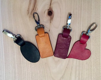 Handmade personalised leather key fob