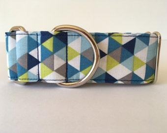 Dog Collar Blue Triangles, Martingale Dog Collar, Greyhound Collar, Martingale collar - 4GUAUS.com