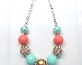 Gold Mint and Coral Pink Spring Summer Flower Girl Birthday Chunky Bubblegum Beaded Toddler Girls Necklace