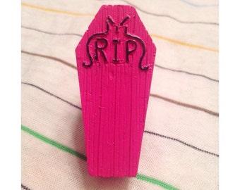 Hot Pink RIP Coffin OOAK Adjustable Ring
