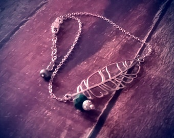 Sterling Silver Tribal Feather Anklet