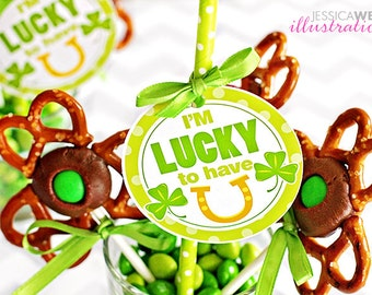 I'm Lucky to Have You Printable St. Patricks Day Tags - Cupake Toppers - Printable St. Patricks Day Tags, Lucky Tags, St. Patricks Day Party