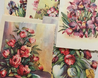 Vintage Notecards, Artist Lillian Grow, Floral Notes