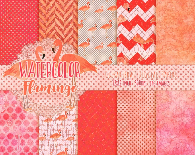 CORAL FLAMINGO Digital Paper Pack Commercial Use Peach Flamingo Digital Background Paper Tropical Beach Coral Watercolour Digital Paper