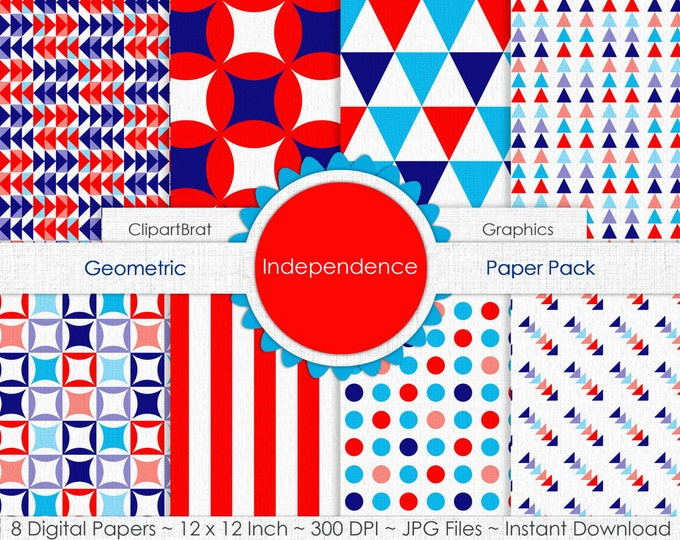 Independence RED WHITE & BLUE Digital Paper Pack Commercial Use Digital Backgrounds Geometric Paper Stripes Triangle Dot Arrow Digital Paper