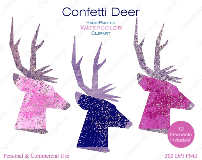 WATERCOLOR DEER HEAD Clipart Commercial Use Clipart 12 Watercolor Deer Images with Metallic Confetti Stag Buck Antlers Reindeer Clip Art