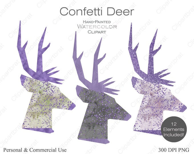WATERCOLOR DEER Clipart Commercial Use Clipart 12 Watercolor Deer Head Graphics Purple Gray Metallic Confetti Stag Buck Antlers Clip art