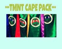 FOUR Ninja Turtle inspired capes, Ninja Turtle cape, Ninja turtle costume, superhero kids clothes, hero costume