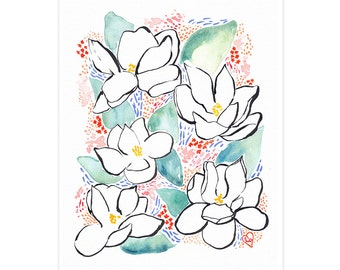 LOUISIANA FLOOD DONATION / Magnolia Watercolor and Ink Print, Signed Archival Fine Art 8x10 Giclee
