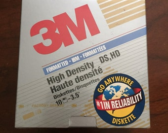 "3M Ds Hd 3.5"" High Density Formatted IBM Diskettes 1.44 MB Box of 10 NIB"