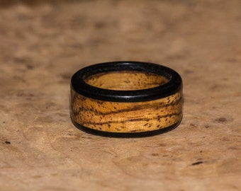 Zebrawood and Ebony Wood Ring -  Mens Womens Custom Hand Carved Wedding Engagement Band Multiple Size Black Brown Tan