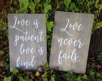 Love is patient, Love is kind, 1 Corinthians 13, Wedding aisle signs, set of 8, hand painted wood signs, rustic wedding decor signs