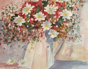 Pitcher of daisies original watercolor painting 15x22 painting