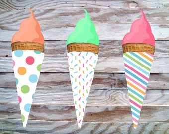 Ice Cream Wraps for Sugar Cones Digital Printable, DIY INSTANT DOWNLOAD