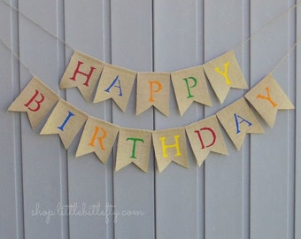 Happy Birthday Burlap Banner, Happy Birthday Bunting Garland, Happy Birthday Sign, Burlap Banner Bunting Garland, Birthday Party Decoration,
