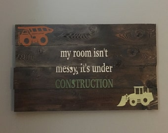 Under construction wood sign