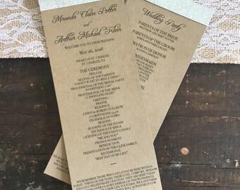 Glitter Wedding Programs - KRAFT & SILVER