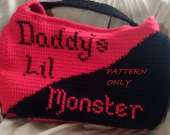 Pattern: Harley Quinn Tote Bag Pattern, Crochet Tote Pattern, Harley Quinn Crochet Pattern