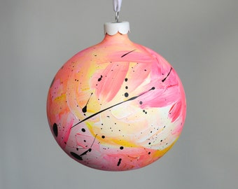 Hand Painted Bauble // Christmas Decoration // Pink, Yellow and White // God Colours Collection 016 // Ceramic Ornament