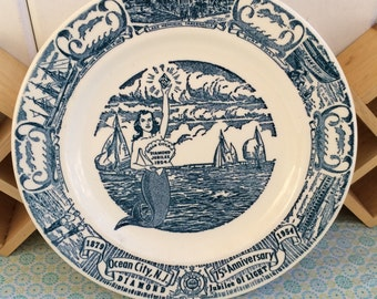 Vintage 1954 Ocean City, New Jersey Diamond Jubilee 75th Anniversary Mermaid Collector Plate