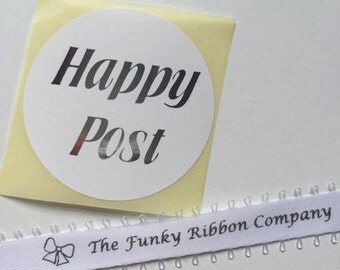 20 x Metallic Happy Post stickers 50mm