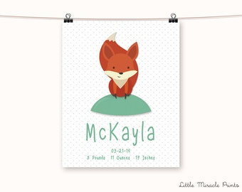 McKayla, Fox, Fine Art Paper, Baby Decor, Baby Monogram Art, Birth, Digital Print, Custom Birth Print, Baby Shower [N6G546A]