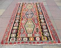 """VINTAGE Turkish Rug, Beautiful Old Kilim Rug,From Handmade Wool Kelim, Rugs, 44,8"""" X 77,9"""""""