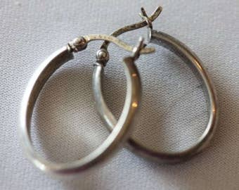 Vintage oblong hinged posts hoop earrings
