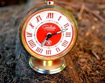 Vintage Russian Mechanical wind up alarm clock SLAVA from Soviet Union CCCP USSR 1970s