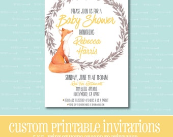 Custom BABY SHOWER Invitation, Fox Baby Shower Invitation, PRINTABLE, Baby Shower, Invitation, Fox, Digital File, 5 Colors To Choose From