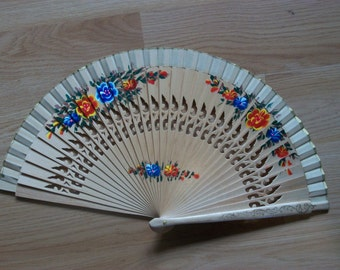 NATURAL Painted Wooden Folding Hand Fan