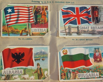 Flags of the world vintage book with 80 (well, 3 are missing, so its 77) picture cards presented by A.&B.C. Chewing Gum Ltd. London