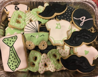 Little Man Decorated Cookies