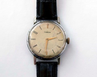 Rare! vintage soviet watch Pobeda for men with engravement