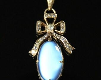 Diamond & Moonstone Pendant - Beautiful Moonstone Old Cut Diamonds