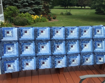 Blue Log Cabin Tied Quilt, King Quilt, Queen Quilt, Hand Tied,