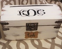 Wedding Card Box, Shabby Chic Wedding Trunk, Wedding Gift Card Box, Large Shabby Chic Wedding Trunk, Monogram Vintage Trunk Wedding
