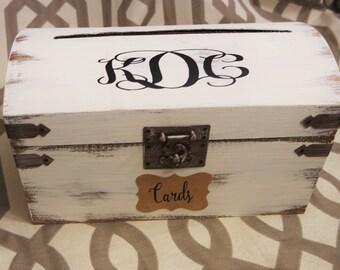 Card Box Wedding, Shabby Chic Wedding Trunk, Wedding Gift Card Box, Large Shabby Chic Wedding Trunk, Monogram Vintage Trunk Wedding Box