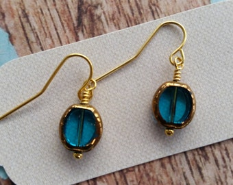 Teal and Gold Oval Dangles