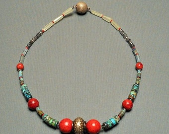 "handmade necklace with red coral beads and old Indonesian silver bead ""Peach"""